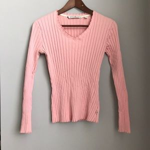 Tommy Hilfiger pink v-neck ribbed long sleeve top